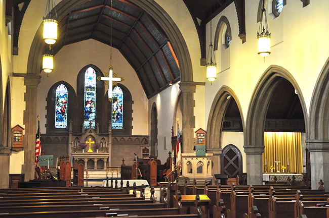 Interior facing the alter of St. Stephen's Episcopal Church in Wilkinsburg